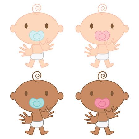 pacifier: Multicultural bebés vector