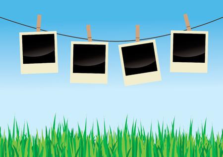 Polaroids On Clothes Line Stock Vector - 5903638