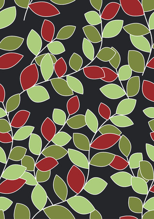 Seamless Leaves Background - Christmas Colors Illustration