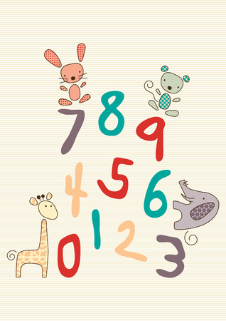 Colorful vector illustration of numbers and a childs stuffed toy animals. Vector
