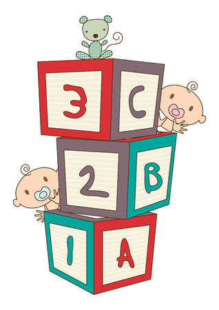 Colorful vector illustration showing a babys building blocks, babys peeping around the blocks, and a stuffed toy animal.