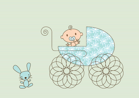 Colorful vector illustration of a pram with a flower pattern, a happy, smiling, waving baby boy and a stuffed toy bunny.
