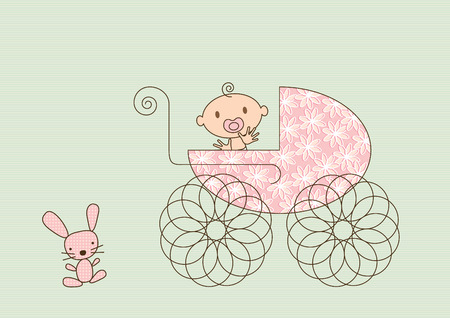 Colorful vector illustration of a pram with a flower pattern, a happy, smiling, waving baby girl and a stuffed toy bunny. Vector