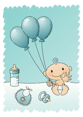 Blue Baby Shower Items Stock Vector - 7697114