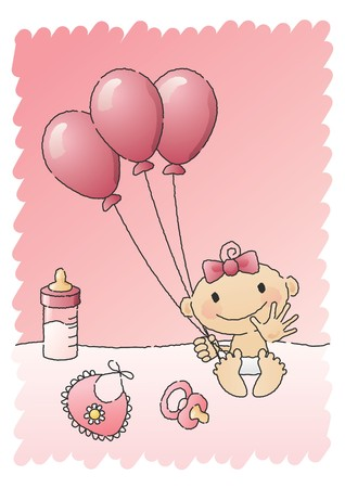 Pink Baby Shower Items  Vector