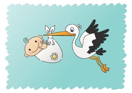 delivery boy: Stork Delivering Baby Boy  Illustration