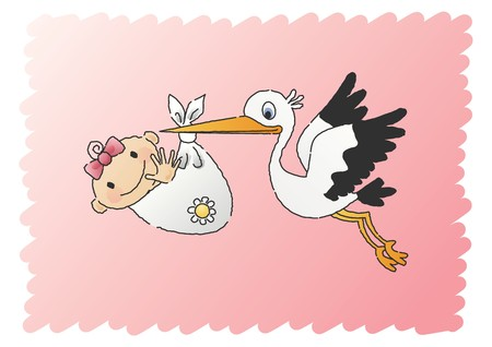 Stork Delivering Baby Girl Stock Vector - 7697101