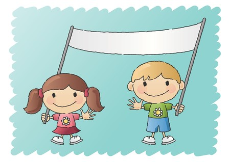 Boy and Girl with Banner