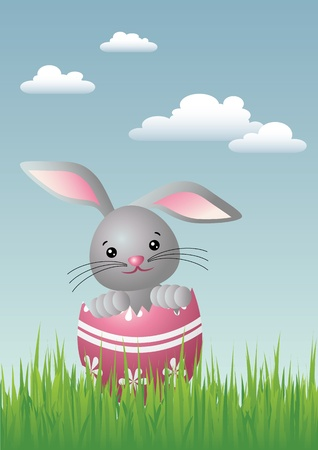 Vector illustration of a surprise Easter egg containing a baby Easter bunny. Stock Vector - 9184443