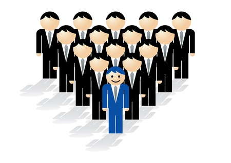 standing out from the crowd: Vector illustration showing the concept of leadership. Illustration