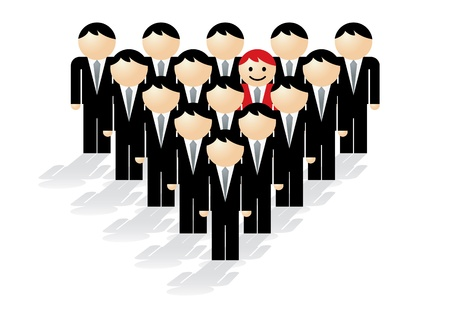 Vector illustration showing the concept of standing out from a crowd.