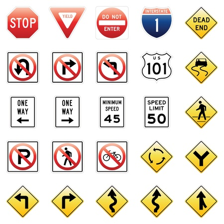 turn on: Traffic Signs Illustration