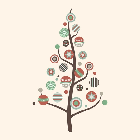 Abstract Christmas Tree Vector in Vintage Colors Stock Vector - 11264843
