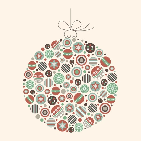 Abstract Christmas Bauble Vector in Vintage Colors Illustration