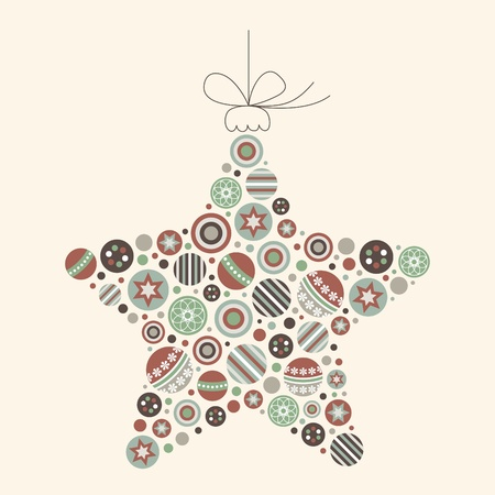 Abstract Christmas Star Vector in Vintage Colors
