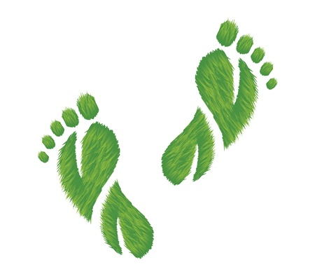 illustration of footprints made of grass.  Represents an eco friendly concept.