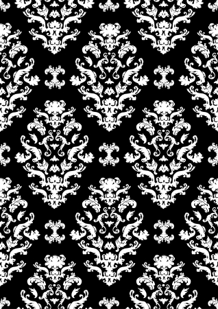 Delicate seamless damask pattern  with white shapes on a black background. Can be tiled horizontally and vertically.  Vector