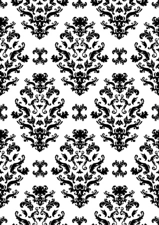 Delicate seamless damask pattern  with black shapes on a white background. Can be tiled horizontally and vertically.  Vector