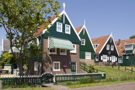 These traditional wooden houses are a well-known tourist attraction on the former island of Marken in the Netherlads.