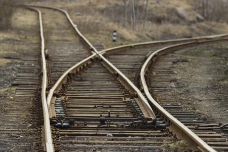 wood railroads: rail road track Stock Photo