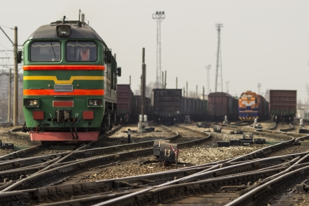 The train transports containers photo
