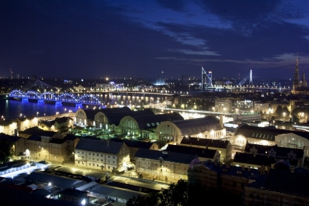 Aerial view over the Old Riga City in night Stock Photo - 19164830