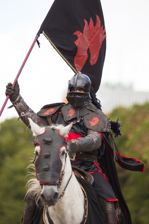 knights jousting Stock Photo