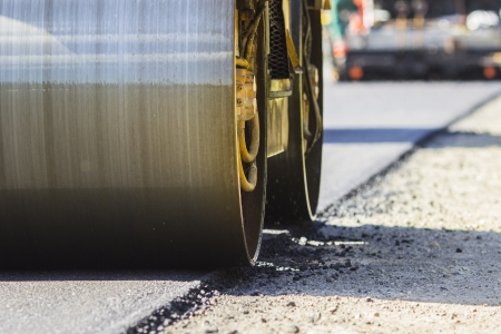 construction machines:  Construction and repair of highway Stock Photo
