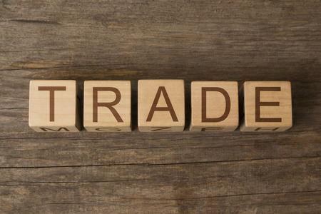 proprietary: text of TRADE on wooden cubes Stock Photo