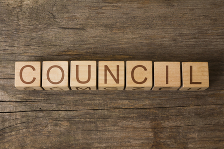 council: the word of COUNCIL on a wooden cubes