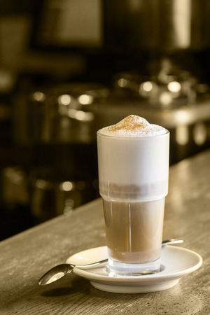 caffe: Latte Coffee or caffe latte in tall latte glasses