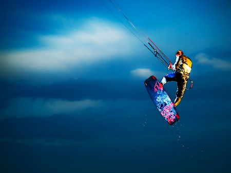 excitement: Kite surfer HDR Stock Photo