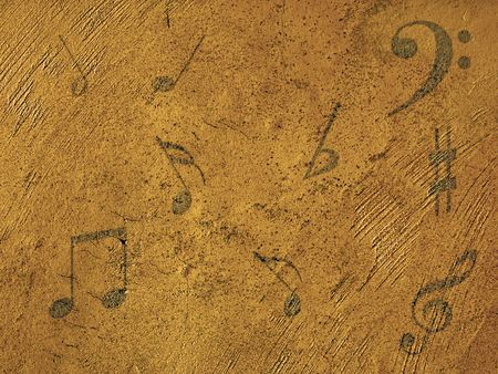 Music notes on a golden background      Stock Photo - 3489404