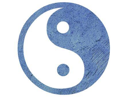 chinese philosophy: Isolated blue grunge Yin Yang symbol
