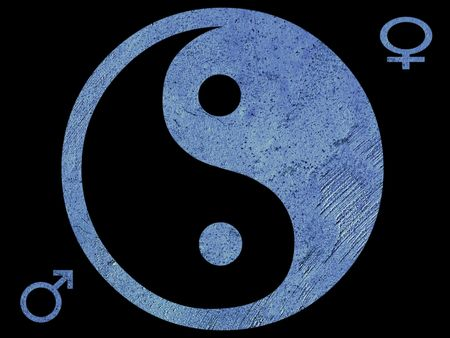 chinese philosophy: Blue Ying Yang symbol with male and female symbols and a black background      Stock Photo