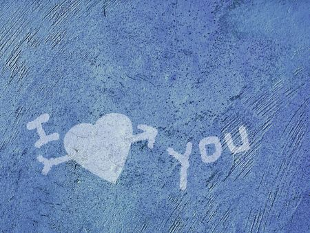 I love you drawn on a blue grunge background       Stock Photo - 3489417
