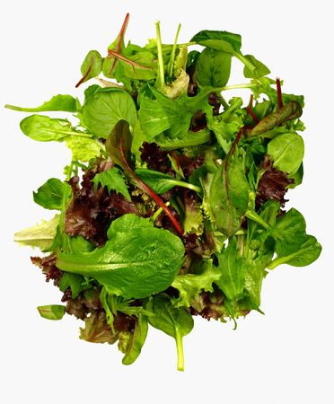isolated mixed baby leaves salad