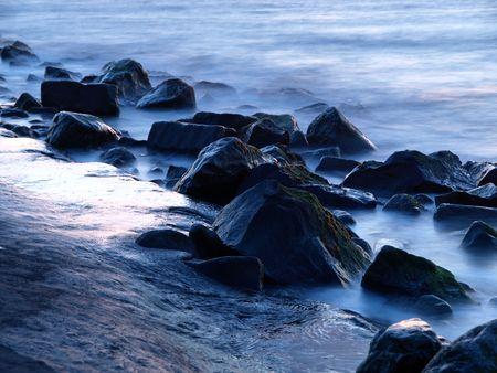 misty boulders at twilight Stock Photo - 5378175