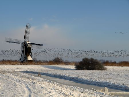wind powered building: Traditional windmill in winter setting, the netherlands Stock Photo