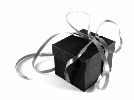 Black gift box with silver ribbon  Stock Photo - 10347520