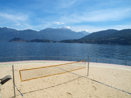 Abandoned volleyball field at lake Como, Italy  photo