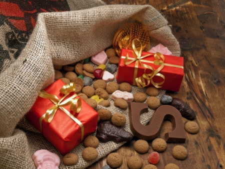 Saint Nicholas bag with gifts and candy   Stock Photo
