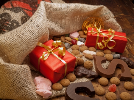 sinterklaas: Saint Nicholas bag with gifts and candy   Stock Photo