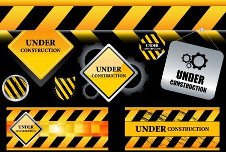 industrial construction: Set of under construction signs  Illustration