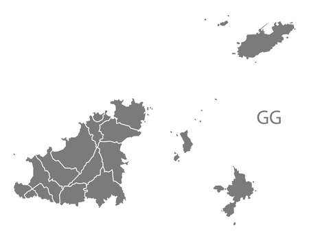 counties: Guernsey map in gray Illustration