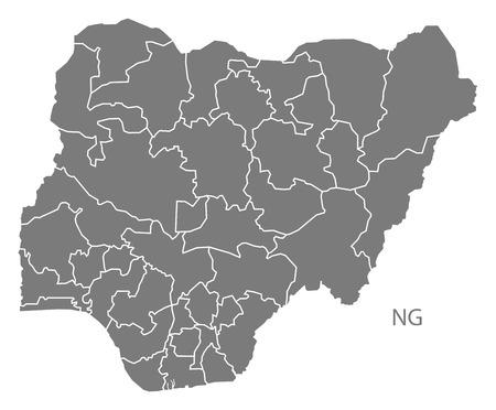 灰色でナイジェリア地図