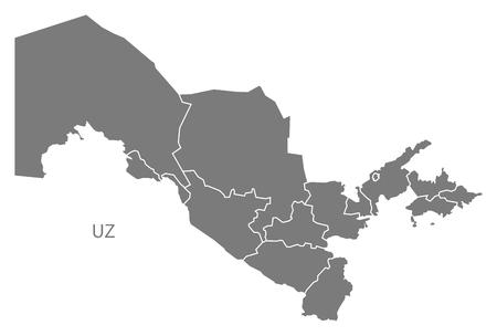 uzbekistan: Uzbekistan map in gray Illustration