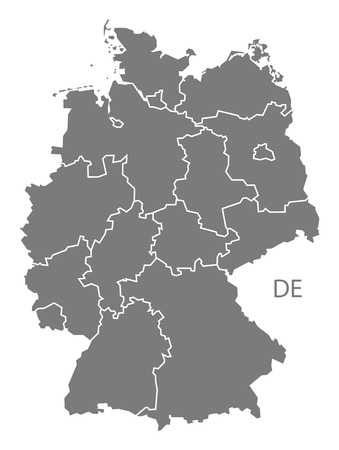 deutschland karte: Germany map in gray