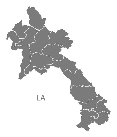 counties: Laos map in gray Illustration