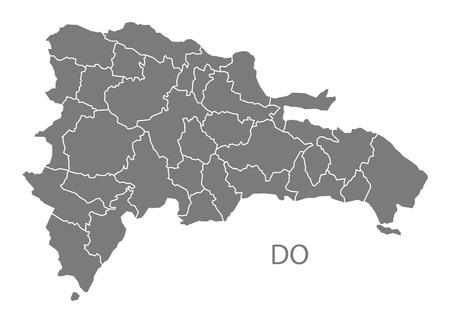 灰色でドミニカ共和国の地図